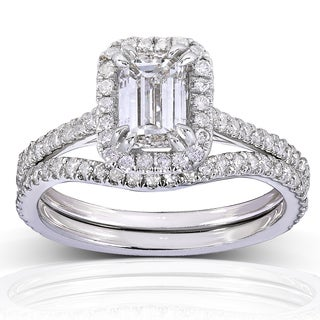 Annello 14k White Gold 1 1/2ct TDW Emerald-cut Halo Diamond Bridal Rings Set (H-I, I1-I2)