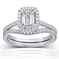 Annello by Kobelli 14k White Gold 1 1/2ct TDW Emerald-cut Halo Diamond Bridal Rings Set