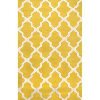 Handmade Moroccan Trellis Yellow Ivory Wool Rug (5' x 8')