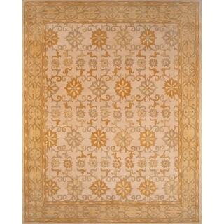 Handmade Beige Gold Floral Art Wool Rug (5' x 8')