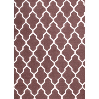 Hand-woven Moroccan Trellis Brown Wool Rug (5' x 8')