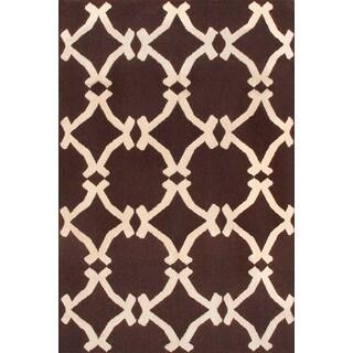 Hand-woven Moroccan Dark Brown Wool Rug (5' x 8')