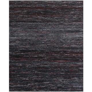 Handmade Textured Sari Silk Black Wool Rug (5' x 8')