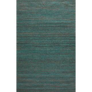 Handmade Textured Sari Silk Green Rug (5' x 8')