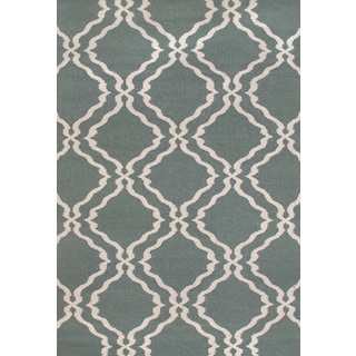 Hand-woven Moroccan Trellis Dhurrie Light Teal Wool Rug