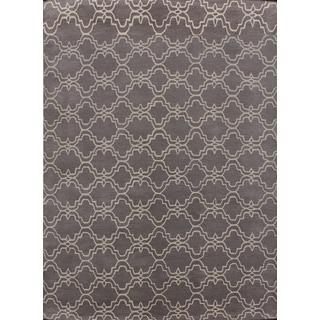 Handmade Moroccan Trellis Scroll Grey Wool Rug (9' x 12')