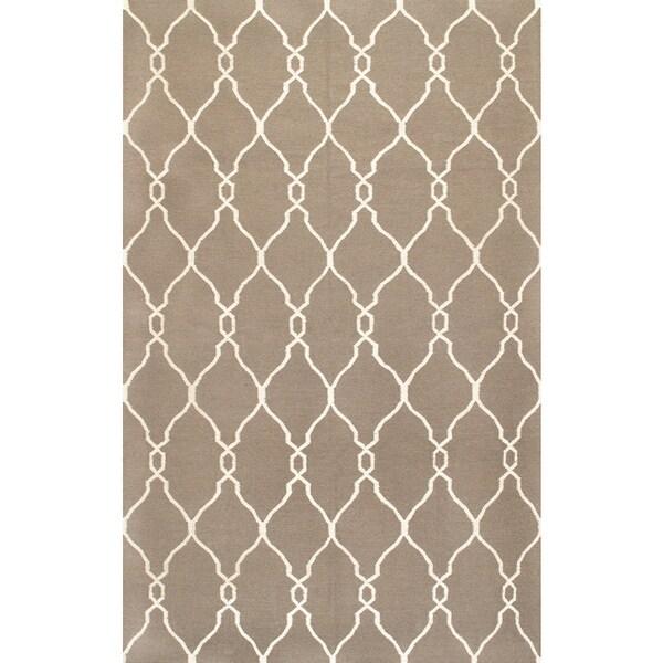 Moroccan Trellis Grey Wool Rug (5' x 8')