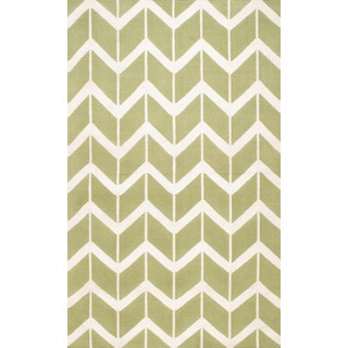 Chevron Flat-weave Lime Wool Area Rug (8' x 11')