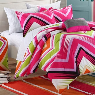 Chic Home Ziggy Zag Fuchsia Reversible 9-piece Dorm Room Bedding Set