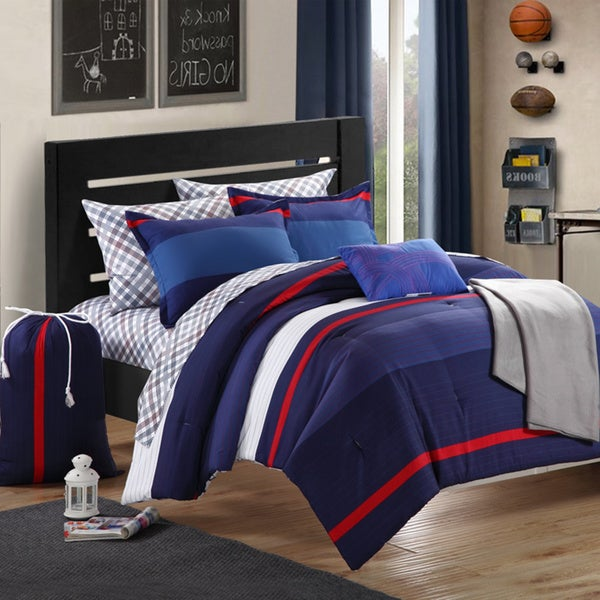 Chic Home Trevor Printed Colorblock 9-piece Dorm Room Bedding Set