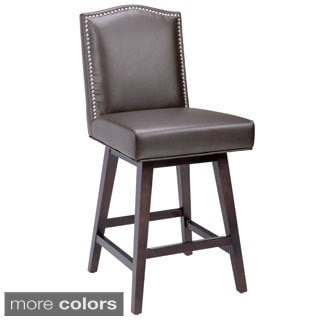 Sunpan u00275Westu0027 Maison Leather Swivel Counter Stool  sc 1 st  Overstock.com : counter stools with back and swivel - islam-shia.org