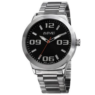August Steiner Men's Swiss Quartz Stainless Steel Silver-Tone Bracelet Watch