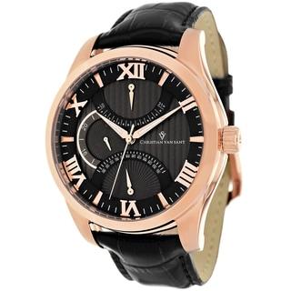 Christian Van Sant Men's Oak Black Leather Watch