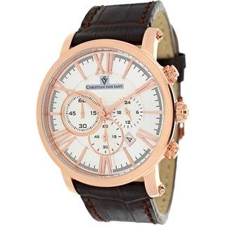 Christian Van Sant Men's Mister Chronograph Brown Leather Watch