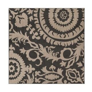 Nina Contemporary Floral Indoor/ Outdoor Area Rug (Option: Black - Camel)