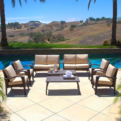 Waikiki Outdoor 8-piece Wicker Seating Set with Cushions by Christopher Knight Home