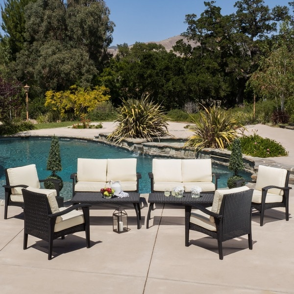 Waikiki Outdoor 8 Piece Wicker Seating Set With Cushions By Christopher  Knight Home   Free Shipping Today   Overstock.com   16433538 Part 82