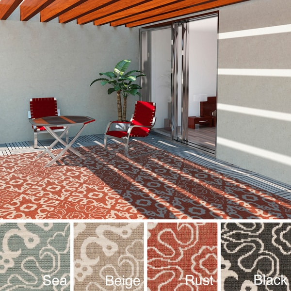 Indoor Outdoor Rugs Square: Meticulously Woven Olivia Contemporary Geometric Indoor