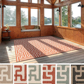 Meticulously Woven Nikki Contemporary Geometric Indoor/Outdoor Area Rug (7'3 Square)