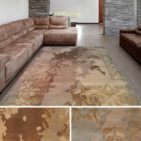 Hand-Tufted Miles Damask New Zealand Wool Area Rug (5' x 8')