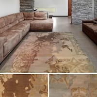 Hand-Tufted Miles Damask New Zealand Wool Area Rug - 5' x 8'