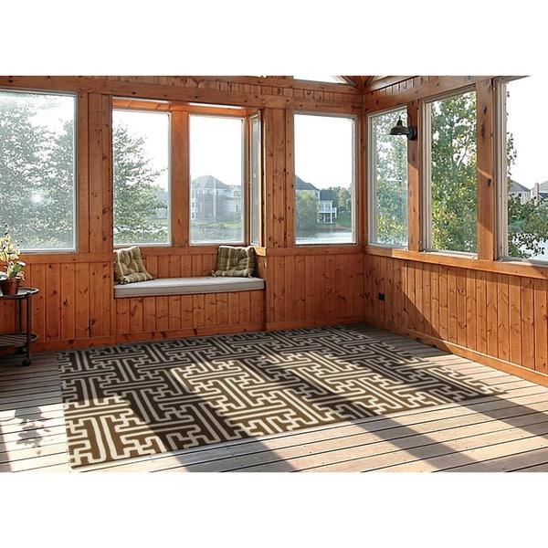 Hand-Hooked Gwyneth Contemporary Geometric Indoor/Outdoor Area Rug - 9' x 12'