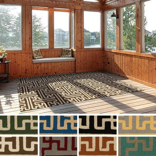 Hand-Hooked Gwyneth Contemporary Geometric Indoor/ Outdoor Area Rug (2' x 3')