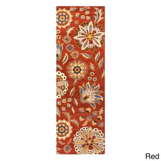 Hand-tufted Lily Pad Floral Runner Wool Area Rug (3' x 12' )