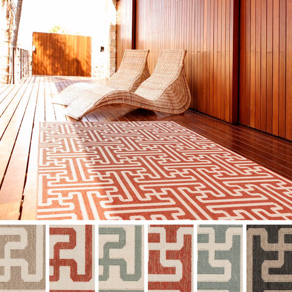 Contemporary Outdoor Patio Rugs :  Woven Nikki Contemporary Geometric Indoor Outdoor Area Rug (6 x 9