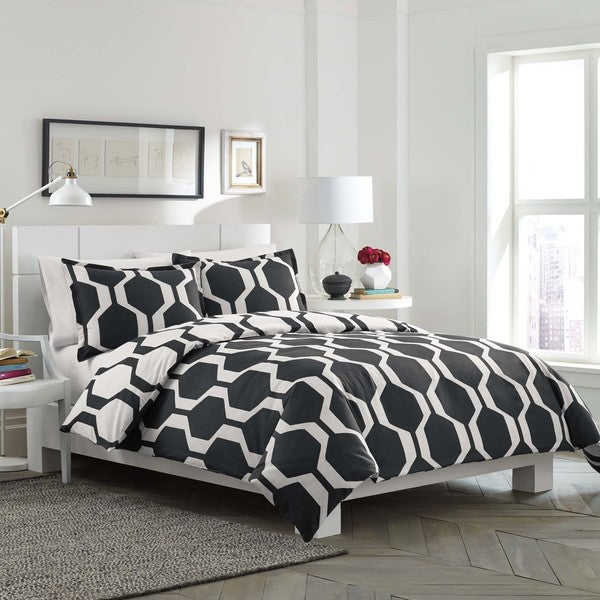 City Scene Obsidian Reversible Cotton 3 Piece Duvet Cover