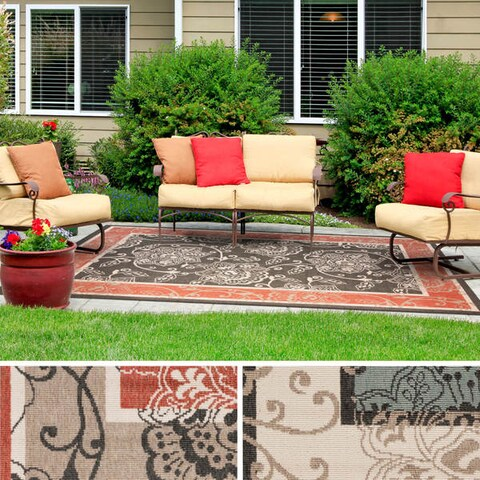 Copper Grove Mountain Floral Border Pattern Indoor/ Outdoor Area Rug