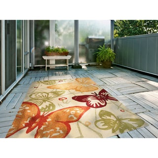 Hand-Hooked Melody Transitional Butterfly Indoor/Outdoor Area Rug (5' x 7'6)