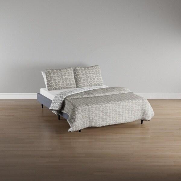 City Scene Puzzle Grey Reversible 3-piece Cotton Quilt Set