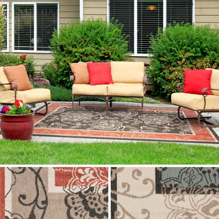 Janelle Contemporary Floral Indoor/Outdoor Area Rug (7'6 x 10'9) - Thumbnail 0