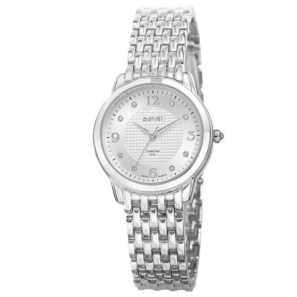 August Steiner Women's Diamond-Accented Swiss Quartz Silver-Tone Bracelet Watch