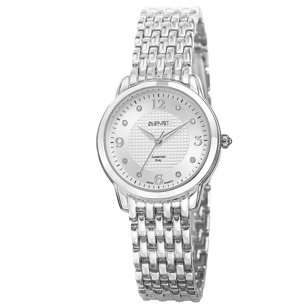 August Steiner Women's Diamond-Accented Swiss Quartz Silver-Tone Bracelet Watch with FREE Bangle