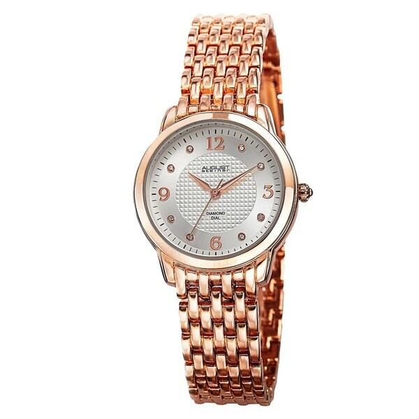 August Steiner Women's Diamond-Accented Swiss Quartz Rose-Tone Bracelet Watch