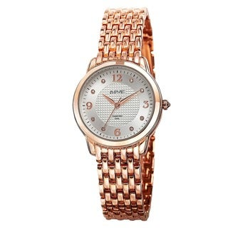 August Steiner Women's Diamond-Accented Swiss Quartz Rose-Tone Bracelet Watch with FREE Bangle