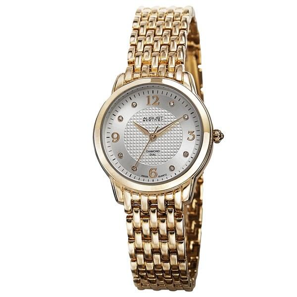 August Steiner Women's Diamond-Accented Swiss Quartz Gold-Tone Bracelet Watch