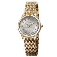 August Steiner Women's Diamond-Accented Swiss Quartz Gold-Tone Bracelet Watch