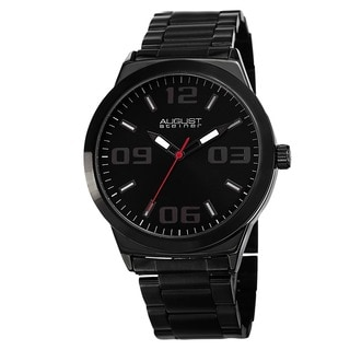August Steiner Men's Swiss Quartz Stainless Steel Black Bracelet Watch