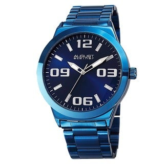 August Steiner Men's Swiss Quartz Stainless Steel Blue Bracelet Watch