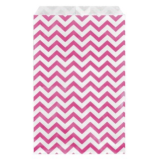 Pink Chevron Paper Bags (200 Count)