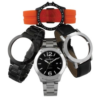 Peugeot Men's 699 4-piece Interchangeable Pop Out Watch Gift Set Watch