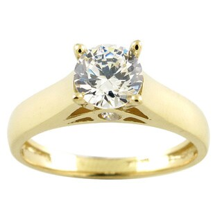 10k Yellow Gold Round Cubic Zirconia Solitaire Engagement Ring (3 options available)