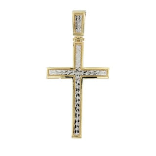 10k Two-tone Gold Fancy Engraved Cross
