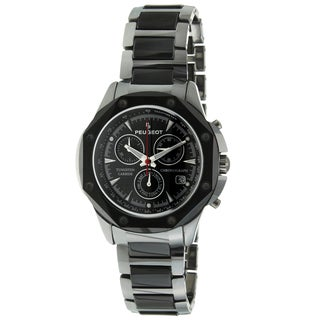 Peugeot Men's Tungsten/ Ceramic Link Swiss Movement Watch