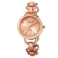 August Steiner Women's Diamond Accented Dial Swiss Quartz Chain-Link Rose-Tone Bracelet Watch