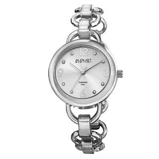 August Steiner Women's Diamond Accented Dial Swiss Quartz Chain-Link Silver-Tone Bracelet Watch