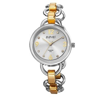 August Steiner Women's Diamond Accented Dial Swiss Quartz Chain-Link Two-Tone Bracelet Watch